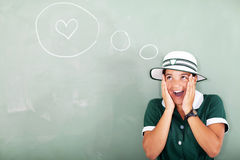 Funny schoolgirl love Royalty Free Stock Photography