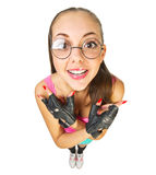 Funny schoolgirl with nerd glasses Royalty Free Stock Image