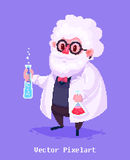 Funny scientist character.  on violet background. Vector illustration. Stock Image