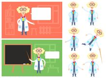 Funny scientist with different emotions in varios locations royalty free stock photos