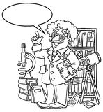 Funny scientist or inventor. With balloon for text. Coloring picture of funny scientist or inventor. An old man in glasses with books, folders, microscope and Stock Images