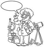 Funny scientist or inventor. With balloon for text. Coloring picture of funny scientist or inventor. An old man in glasses with books, folders, microscope and Royalty Free Stock Image
