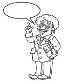 Funny scientist or inventor. With balloon for text. Coloring picture of funny scientist or inventor. An old man in glasses and suit with curly hairs, raised Royalty Free Stock Images
