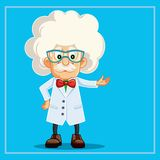 Funny Scientist Professor Cartoon Character royalty free stock images