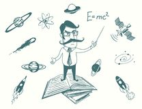 Funny scientist stands on books Royalty Free Stock Image