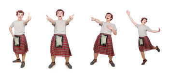 The funny scotsman isolated on white Royalty Free Stock Photos