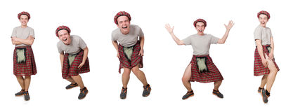 The funny scotsman isolated on white Stock Images