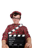 Funny scotsman with movie board Royalty Free Stock Photo
