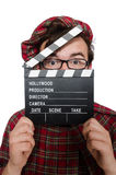 Funny scotsman with movie board Stock Image