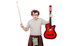 Funny scotsman with musical instrument Royalty Free Stock Photos