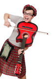 Funny scotsman with musical instrument isolated Royalty Free Stock Photo