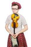 Funny scotsman with violin Stock Photo