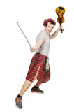 Funny scotsman with violin Stock Image