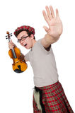 Funny scotsman with violin Stock Photos