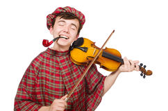 Funny scotsman with violin Royalty Free Stock Photo