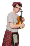 Funny scotsman with violin Royalty Free Stock Images