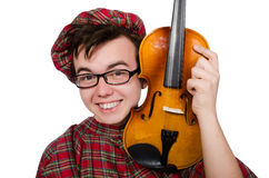 Funny scotsman with violin Stock Images