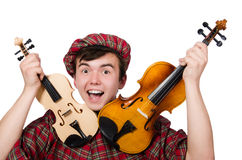 Funny scotsman with violin Royalty Free Stock Photography