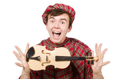 Funny scotsman with violin Royalty Free Stock Image