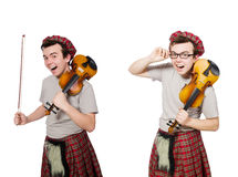 The funny scotsman with violin on white Royalty Free Stock Photos