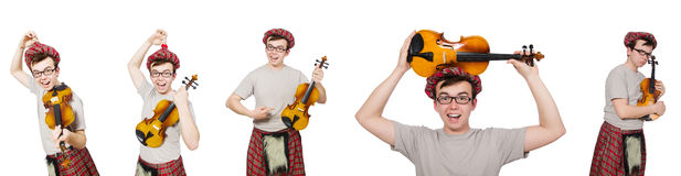 The funny scotsman with violin on white Stock Photography