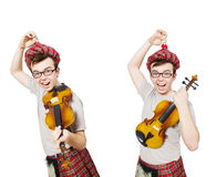 The funny scotsman with violin on white Royalty Free Stock Images