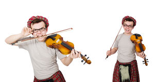 The funny scotsman with violin on white Royalty Free Stock Image