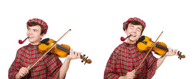 The funny scotsman with violin on white Stock Photo