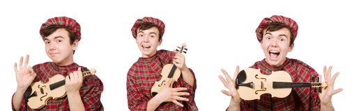 The funny scotsman with violin on white Stock Images