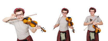 The funny scotsman with violin on white. Funny scotsman with violin on white Royalty Free Stock Image
