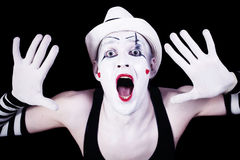 Funny screaming mime Stock Images