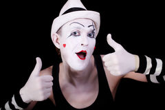 Funny screaming mime in white hat Stock Photo