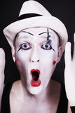 Funny screaming mime in white hat Stock Images