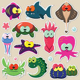 Funny sea animal stickers set. Vector set of cartoon funny sea animals: fishes, octopuses, crabes, seastars etc Stock Photos
