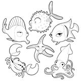 Funny sea animals in black and white. Vector cartoon isolated characters Royalty Free Stock Photos