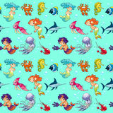 Funny sea animals with mermaids and background. Royalty Free Stock Images
