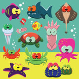 Funny sea animals set. Vector set of cartoon funny sea animals: fishes, octopuses, crabs, sea-stars etc Stock Images