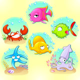 Funny sea animals. Vector cartoon characters with backgrounds Royalty Free Stock Image