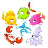 Funny sea animals. Vector cartoon isolated characters Royalty Free Stock Photos