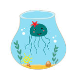 Funny sea jelly jellyfish in a vase Stock Images