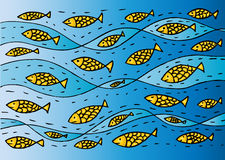 Funny sea pattern with fish. Hand drawing illustration Stock Photos