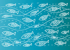 Funny sea pattern with fish. Hand drawing illustration Stock Images