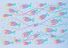 Funny sea pattern with fish. Hand drawing illustration Royalty Free Stock Photo