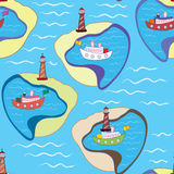 Funny sea seamless pattern with ships Royalty Free Stock Photos