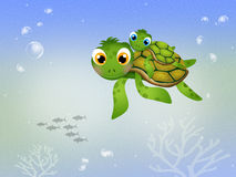 Funny sea turtles Stock Images