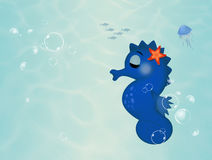 Funny seahorse to the seabed. Illustration of funny seahorse to the seabed Royalty Free Stock Photo
