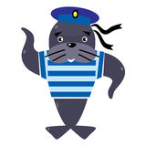 Funny seal sailor Stock Photography