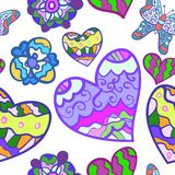 Funny seamless background with heart, butterfly Stock Photo