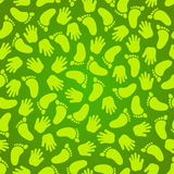 Funny Seamless Background. Vector seamless background with footprints and handprints. It can be used for materials of any size and can be edit so easily Royalty Free Stock Image