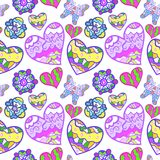 Funny Seamless Background With Heart, Butterfly Royalty Free Stock Photography